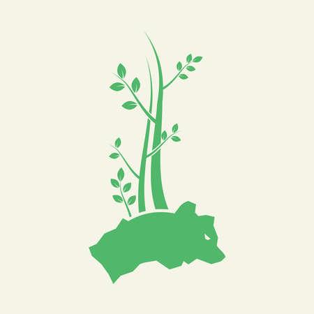 Trees and Bear Stones Logo Vector Illustration.jpg