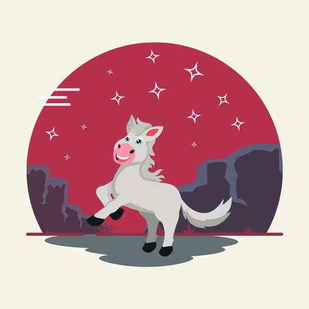 Cute white horse vector illustration