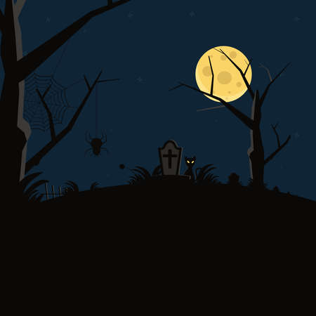 Spider web and cat in tomb. Scary halloween design concept Ilustracja