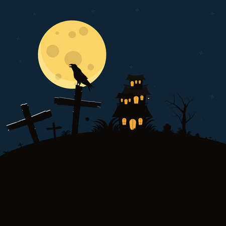 Crow bird in tomb at the night vector illustration. Halloween background concept Ilustracja