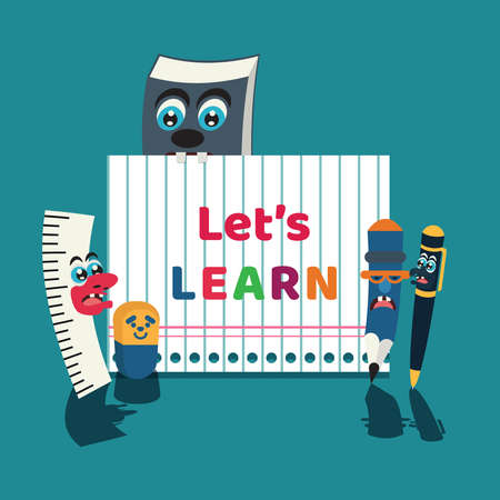Stationary characters and lets learn lettering vector illustration