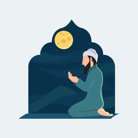 Praying man of muslim flat design vector illustration
