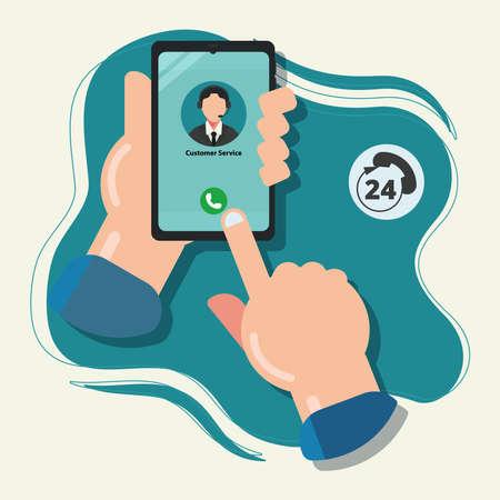 Hand hold smartphone. Call customer service concept vector illustration Ilustracja