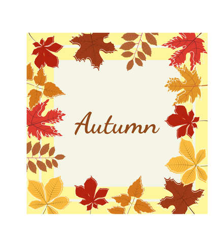 Vector graphic image autumn background with leaves Vector illustration