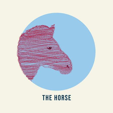 Scribble Head Horse Graphic Design Vector Illustration Stock Illustratie
