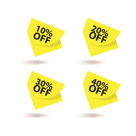 Discount percentage promotion banner in yellow background vector illustration