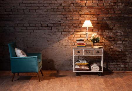 Bakstenen muur interieur concept
