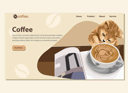 Landing page with illustrated background for Coffee