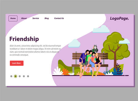 Landing page friendship concept flat illustration vector