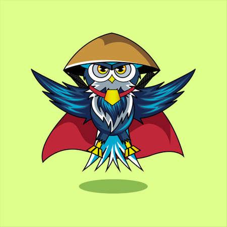 Illustration vector graphic of mascot owl samurai