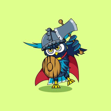 Illustration vector graphic of mascot owl viking
