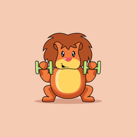 Illustration vector graphic of mascot lion is lifting the barbell