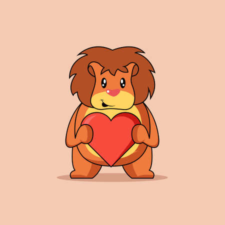 Illustration vector graphic of mascot lion is holding a heart