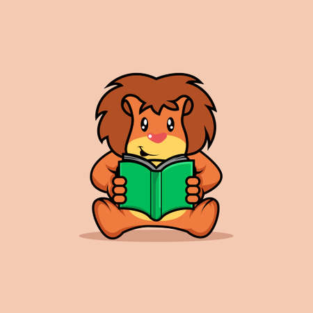 Illustration vector graphic of mascot lion is reading