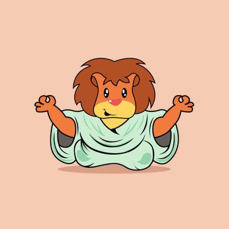 Illustration vector graphic of mascot lion is yoga