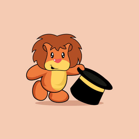 Illustration vector graphic of mascot lion is playing magic