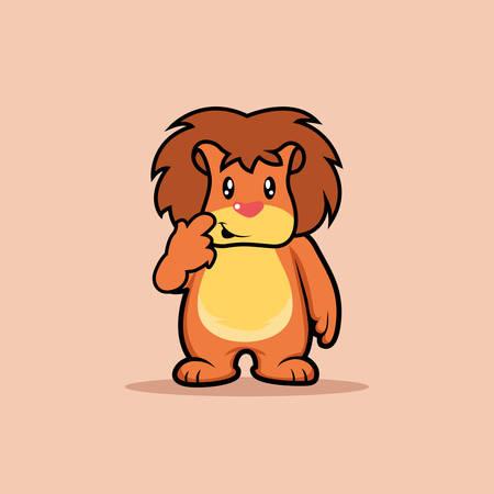 Illustration vector graphic of mascot lionis thinking