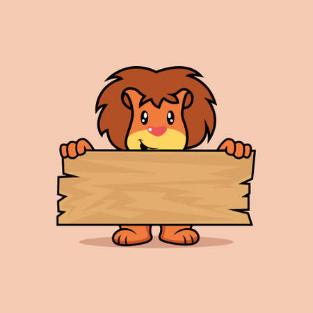 Illustration vector graphic of mascot lion holding a plank of wood