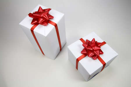a gift white man with red ribbon Stock Photo - 6041709