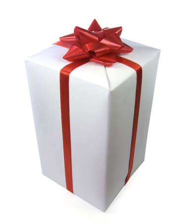 a gift white man with red ribbon Stock Photo - 6041711