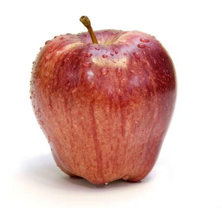 apple with dew drops Stock Photo