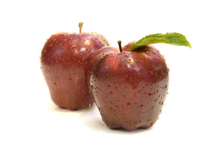 Red apples with dew drops