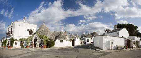 puglia: Beautiful trulli houses in Puglia, Italy.  Stock Photo