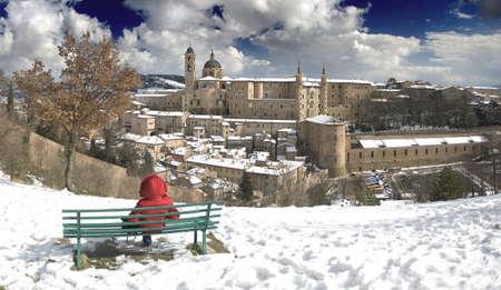 panorama of Urbino in winter