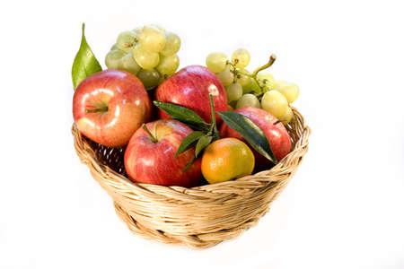 Full basket of fresh fruit of season