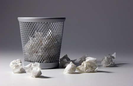 useless: waste paper basket  Stock Photo