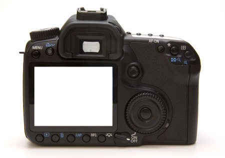 Digital professional camera isolated on a white background