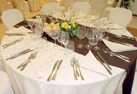 Table setting at a luxury wedding reception  photo