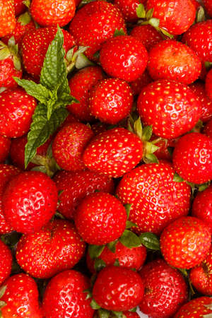 Fresh Strawberry toned Background. Selective focus Summer fruit.