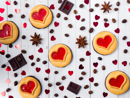 Homemade Cookies with a Red Jam Heart Valentines Day
