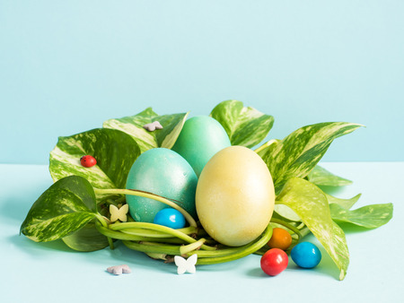 Easter eggs in nest from green leaves on a blue background.