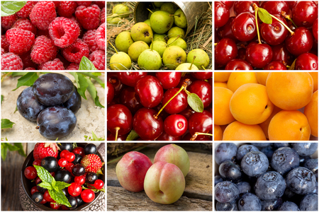 A collage of different summer fruits and berries. Chess order.