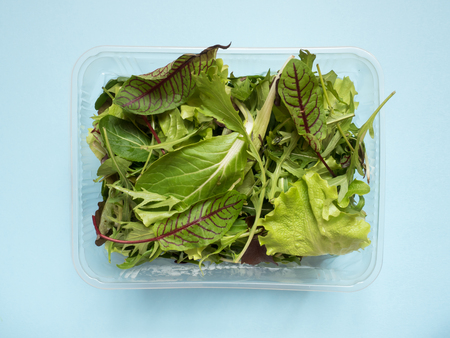 Fresh spinach leaves and green arugula salad rocket, arugula in container on blue table.