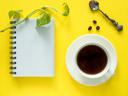 Notepad for notes, green leaves plant coffee Cup on yellow desktop, flat lay, copy space