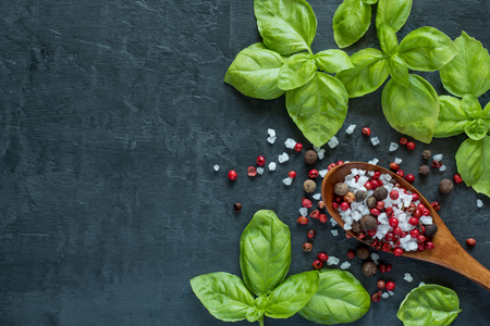 Basil Garlic and spices on stone table. The concept of cooking. Top view with space for text. Stock Photo