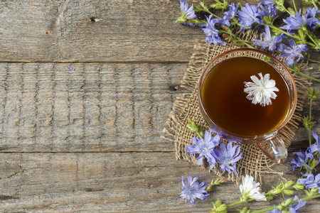 Chicory drink in Cup and flowers on rustic wooden background. Medicinal plant Cichorii