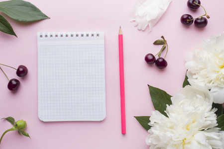Notepad for text white flowers peony cherry berries on pastel pink background. Foto de archivo