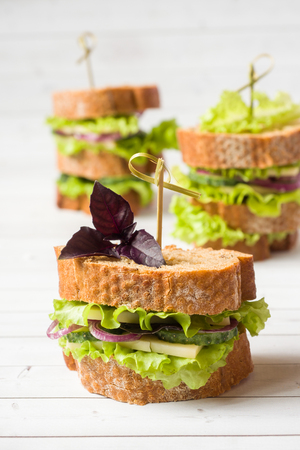Sandwiches with cheese, cucumbers and onions with wheat bread. Selective focus