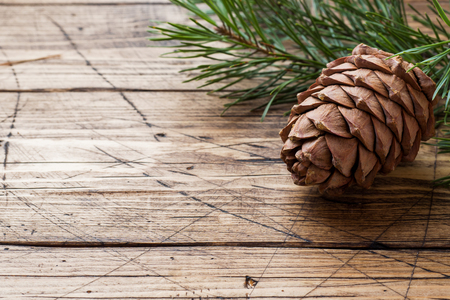 Pine cones and spruce branches on wooden background. Selective focus.Copy space. Imagens