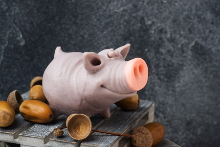 Funny figure of a pig with acorns on a dark background. Copy space.