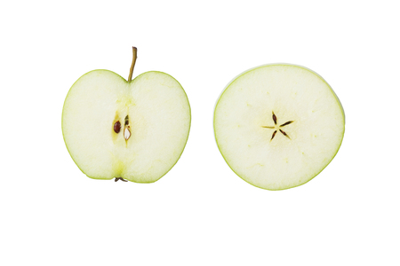 Different slices of green Apple isolated on white