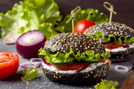 Vegetarian Burger with cottage cheese cream and vegetables