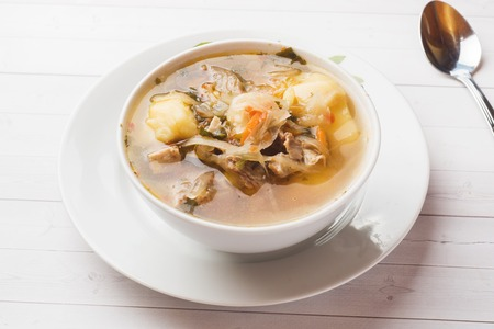 Soup of sauerkraut, meat stock in the dish