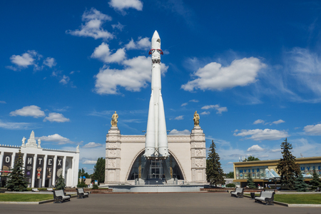 Moscow, Russia - June 24, 2019: Russian spaceship Vostok 1, monument of the first soviet rocket at VDNH. astronautics in USSR, history of Gagarin's flight