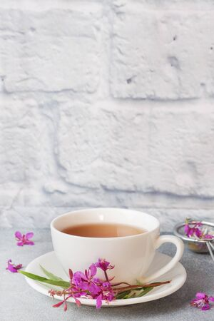 Useful herbal tea from fermented leaves fireweed on grey background. Traditional Russian Koporye Tea Ivan Chai Copy space Stock Photo