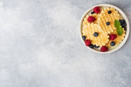 Corrugated waffle cookies with fresh raspberries and blueberries on a concrete background. Copy space
